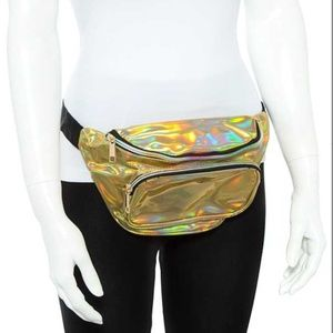 😍 3/$20! Gold holographic shiny fanny pack bag